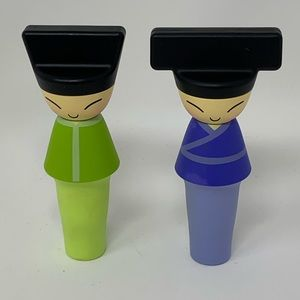 Alessi King & Queen Chin Bottle Stoppers, Set of 2